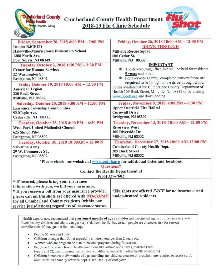 Flu Shot Sched Cumberland County 2018