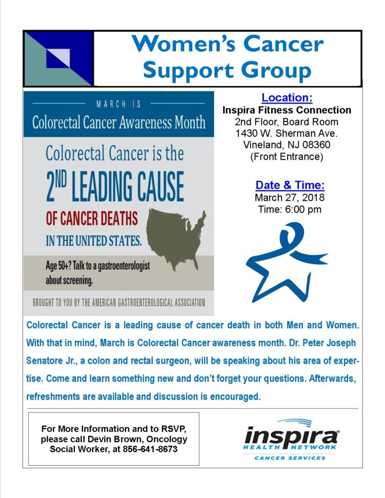 Women's Support Group 3-27-18 Colorectal Cancer
